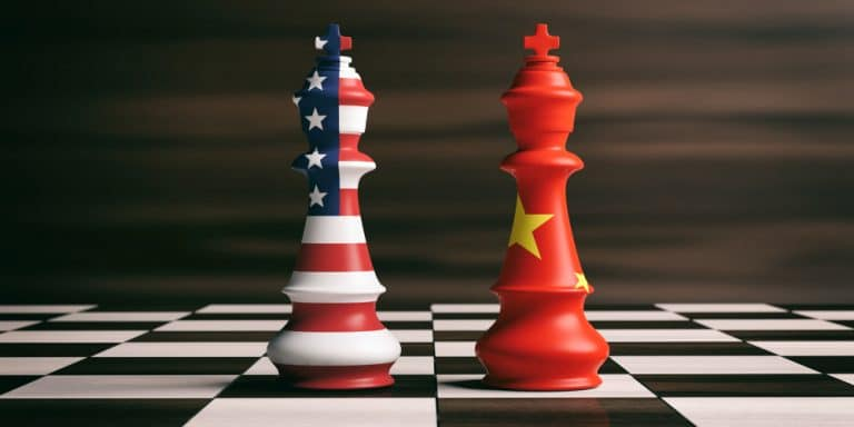 concept guerre commerciale USA Chine