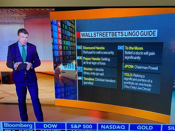 expression WallStreetBets, to the moon, stonks, YOLO, bourse
